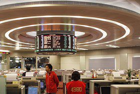 The trading hall of the Hong Kong Stock Exchange.