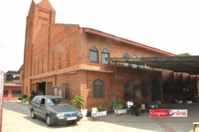 Over 70 years old St Andrews Anglican Church constructed with burnt clay bricks at Abossey - Okai, Accra.