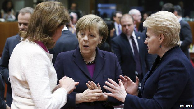 EU leaders including Angela Merkel (centre) are in Brussels for talks on the Ukraine crisis