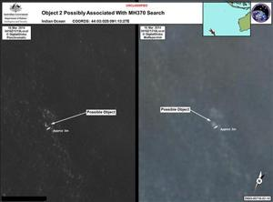 Satellite imagery provided to Australian Maritime Safety Authority (AMSA) of the objects