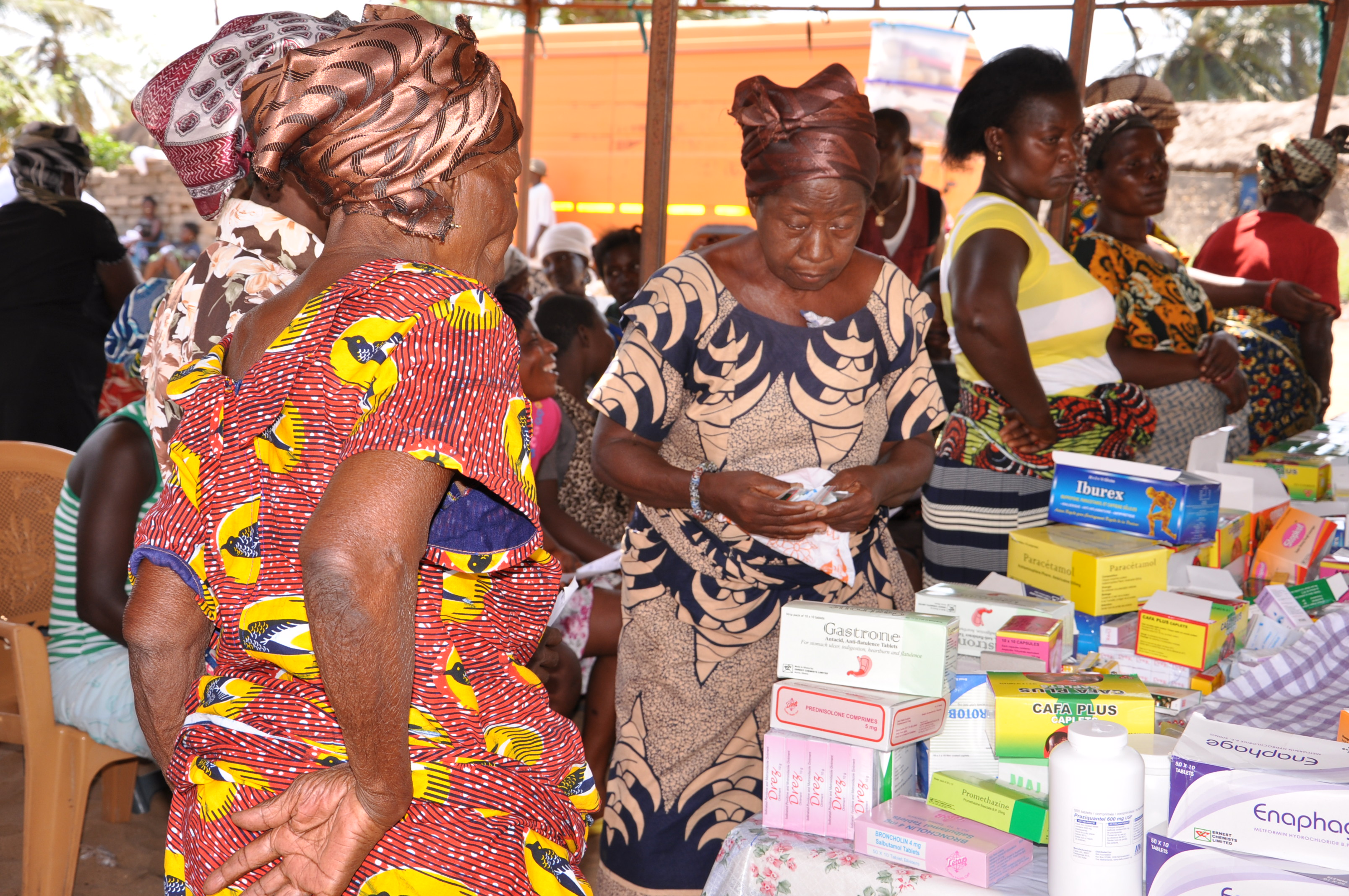 Some elderly women receiving free drugs