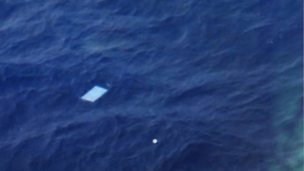 This image of one the objects spotted was taken by a journalist on board the New Zealand plane