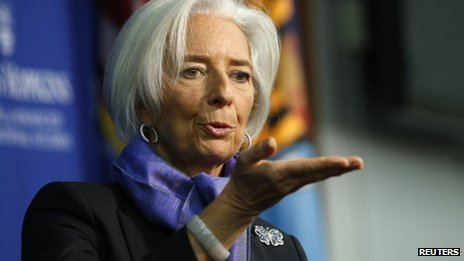 "The global economy is ""too weak for comfort"", Christine Lagarde said"