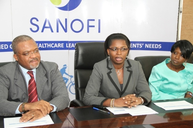 Dr. Fifen Inoussa, Sanofi's Medical & Regulatory Affairs Director with Dr. Victoria Omoera, Senior Medical Officer 1 / Malaria Program Officer at the Lagos State Ministry of Health who represented Lagos State Health Commissioner, and Aderinsola Taiwo, Key Account Manager at Sanofi