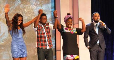 L-R: Top 3 Contestants saved by Judges Wild-Card, Zibili Evelyn, Anthony Akpan, and Odugbemi Idowu Sarah; with the show host, Ill Rhymz, at the Etisalat Sponsored Nigerian Idol Season 4 Wild-Card Episode, held at Dream Studios, Omole Phase 1, Lagos, over the weekend.