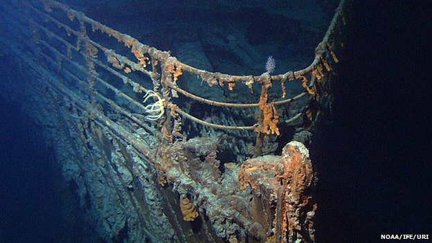 The wreck of the Titanic now lies at a depth of 3,800 m (12,500ft)
