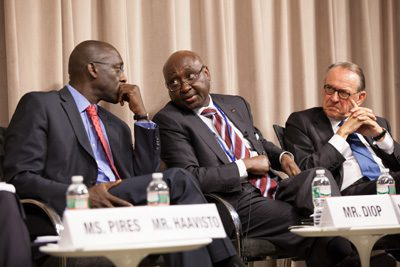 World Bank Africa Region Vice President Makhtar Diop (left) with African Development Bank President Donald Kaberuka (middle) and UN Deputy Secretary-General Jan Elliasson (right)