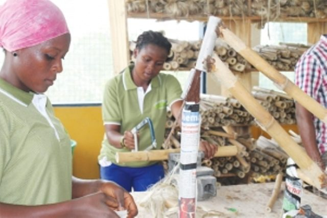 Some of the girls under training in bamboo bike making
