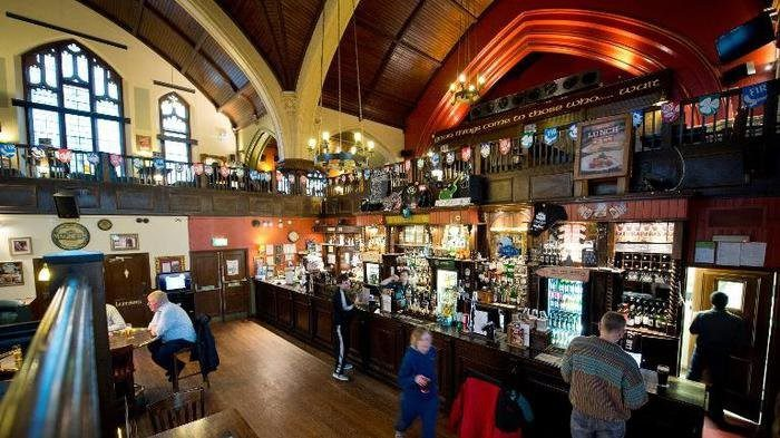 Bar at O?Neills pub, pictured in a former Presbyterian church in Muswell Hill, north London, on January 16, 2014