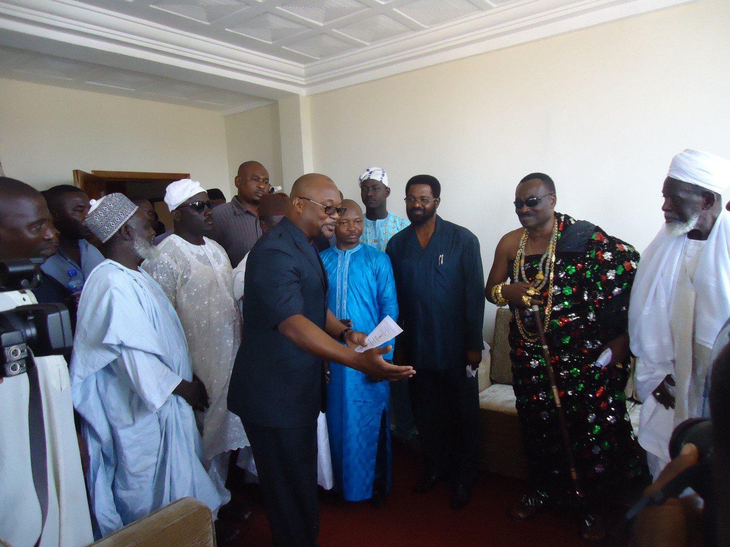 Mr Gideon Aryequaye conducting dignitaries round the new facility.