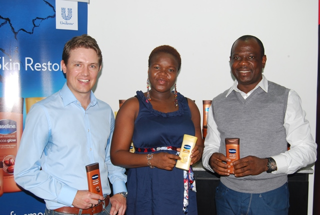 James Inglesby, Category Manager, deodorant and skin care, Mojirola Emelideme, Manager, skin care and David Okeme, Marketing Director, Personal care all of Unilever Nigeria Plc at the product launch in Lagos