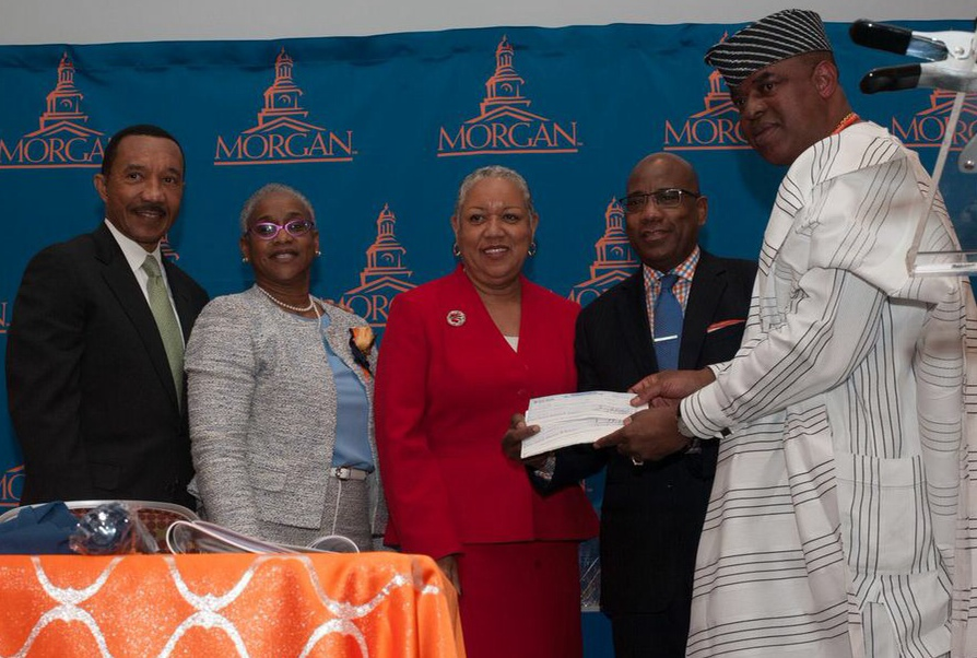 Chairman, Morgan State University(MSU) Board of Regents, Mr Kweisi Mfume, President MSU National Alumni Association, Mrs Jacqueline Lawson, Vice President for Institutional Advancement, Ms Cheryl Hitchook, President, Morgan State University, Mr David Wilson and the awardee, Senator 'Gbenga Ashafa, during the recognition award given by Morgan State University, at the 74th Alumni Awards & Class Reunion Luncheon, Maryland, USA, on Friday.