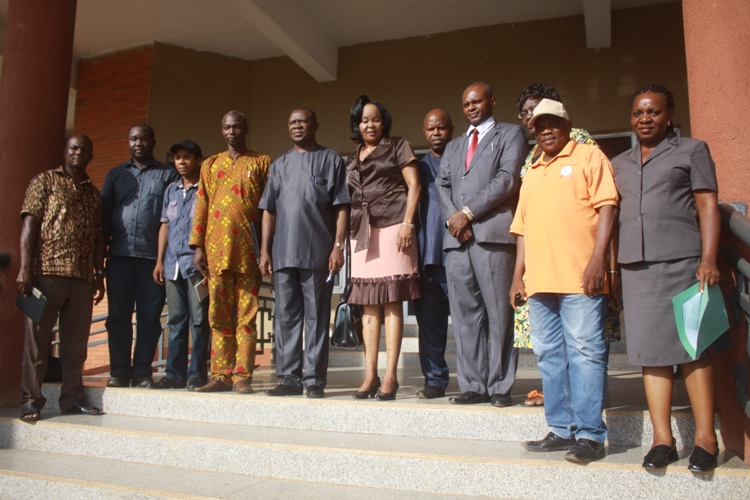 The Chairman of the Inter-ministerial Committee on Housing Estates Hon Commissioner for Housing Sir Lawrence Chinwuba (5th left) surrounded by members of the Committee after Inauguration in Awka.