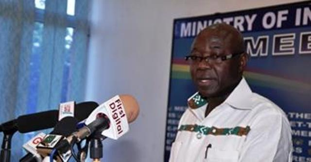 Hon. Kwasi Opong-Fosu addressing the media