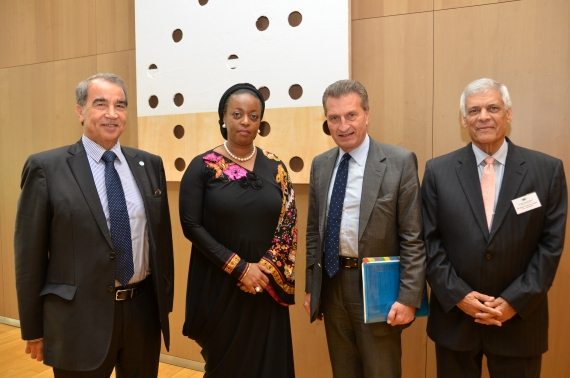 Dr Abdel Bari Ali Al-Arousi, Minister of Oil and Gas of Libya and President of OPEC; Mrs. Diezani Alison-Madueke, Minister of Petroleum Resources and Alternate President of OPEC; G?nther Oettinger, EU Energy Commissioner; and Abdalla Salem El-Badri, Secretary General, OPEC at 11th EU-OPEC Energy Dialogue Ministerial Meeting in Brussels?. Tuesday