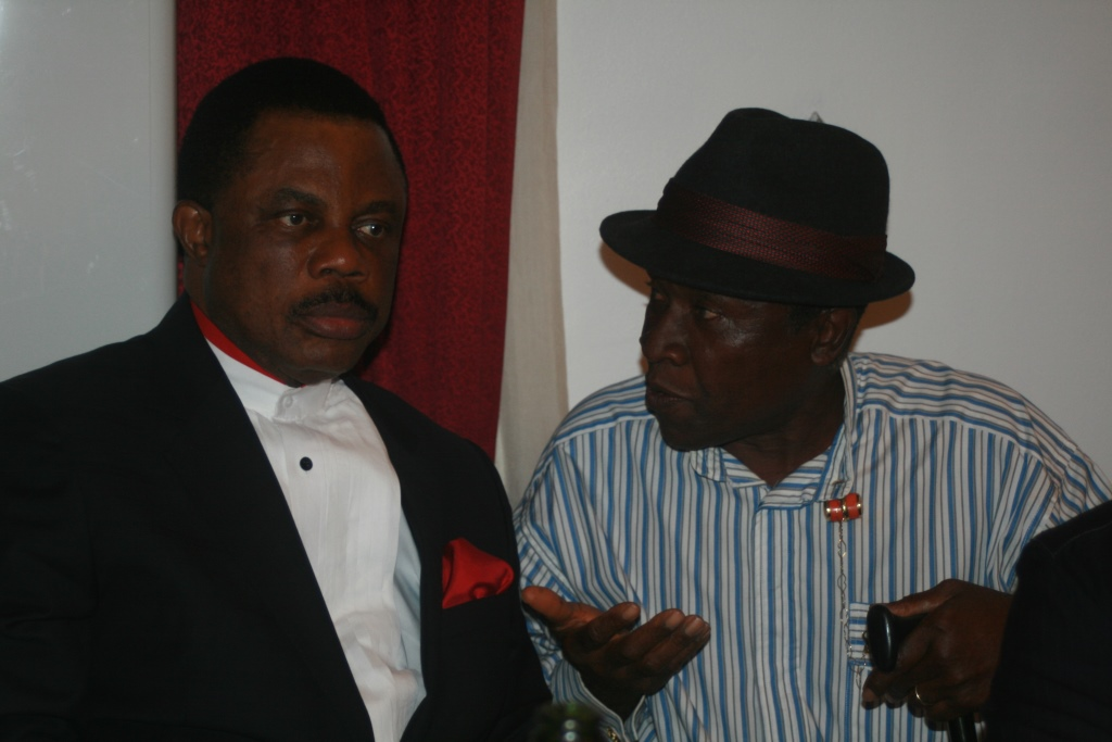 Executive Governor of Anambra State, Chief Willie Obiano and Engineer Emeka Nwoka, MD, Orient Petroleum at the Anambra Stakeholders Forum held in Awka...at the weekend