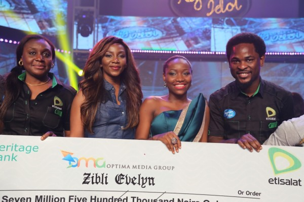 Head, Events & Sponsorships, Etisalat Nigeria, Modupe Thani; Nigerian Actress, Genevieve Nnaji; winner of Etisalat sponsored Nigerian Idol 4, Zibili Evelyn (Evelle) and Director, Brands & Communications, Etisalat Nigeria, Enitan Denloye, during the prize presentation to winner of Etisalat sponsored Nigerian Idol season 4, held at Dream Studio, Omole, Lagos, on Saturday, 7th June, 2014.