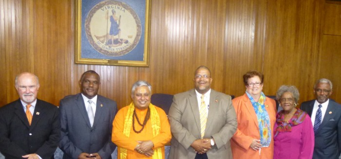 Just before the Portsmouth City Council Hindu invocation, from left to right, are? Councilmember William E. Moody Jr., Vice Mayor Paige D. Cherry, Hindu statesman Rajan Zed, Mayor Kenneth I. Wright, Councilmember Elizabeth M. Psimas, Councilmember Marlene W. Randall and Councilmember Curtis E. Edmonds Sr.