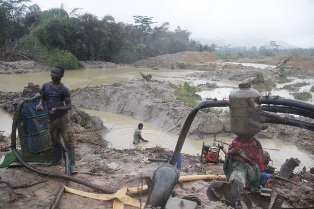 Illegal mining areas in ghanaian
