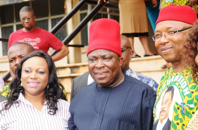 National Chairman of APGA, Chief Victor Umeh outside Enugu Appeal Court among jubilating party faithfuls