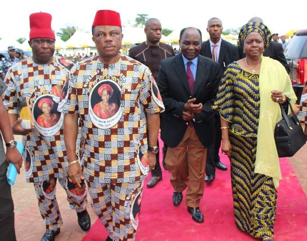 (L-R) Sir Victor Umeh, National Chairman of APGA, Chief Willie Obiano, Governor Willie Obiano, former President Yakubu Gowon and his wife Victoria arriving the venue of the special Honours & Tributes Ceremony for Dora Akunyili in Awka...Wednesday