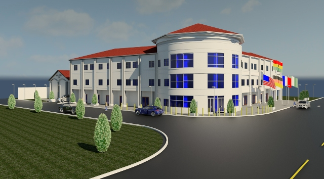 A model of the Front view of the Dr. Edusei International Center