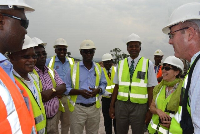 Australian Ambassador, Her Excellency Joana Adamson (2nd right), Prof. J. S. Kuma (4th right) Vic Chancellor of UMaT and entourage interacts with some EXCO members at Ajopa operations