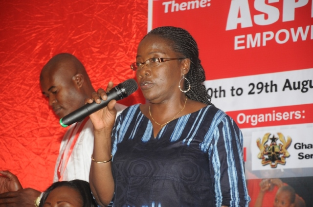 Mrs Matilda Amissah-Arthur addressing the girls at the camp organised by ACTIONAID