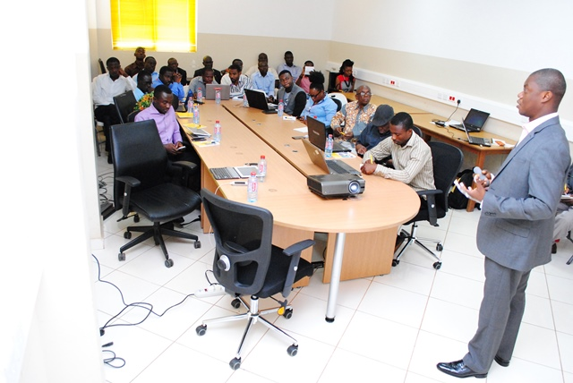 Mr. Eli Kpodo interacting with the participants at the forum