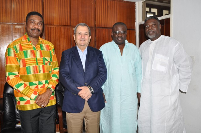 Dr. Aubynn (second right) with Israeli Prime Minister, Ehud Barak (third right)
