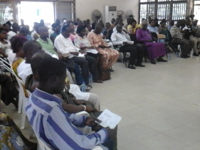 A cross section of the participants at the SPEFA forum in the Ga West Municipal assembly hall