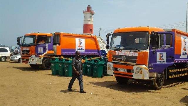 waste truck and bins ready being launched by the dignitaries