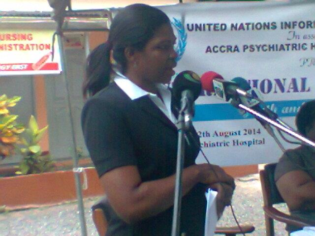 Mrs Cynthia Prah, addressing some youth and officials at the Accra Psychiatric Hospital to mark International Youth Day.