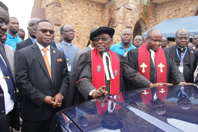 The Clergy dedicating the vehicle after presentation