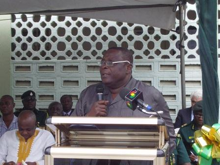 Interior Minister, Mark O. Woyongo addressing officers and men of the Ghana Immigration Service