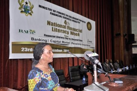 4th financial literacy week launch. Deputy Minister of Finance, Madam Mona Quartey performing the launch.