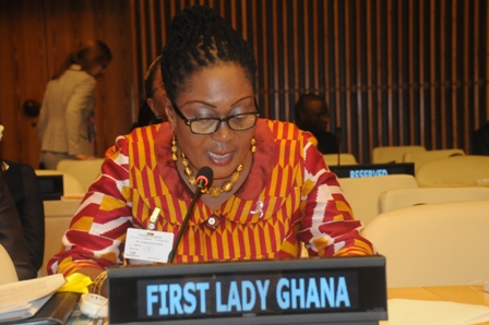 First Lady Madam Lordina Mahama addressing colleagues First Ladies on the sidelines of the UN General Assembly in New York