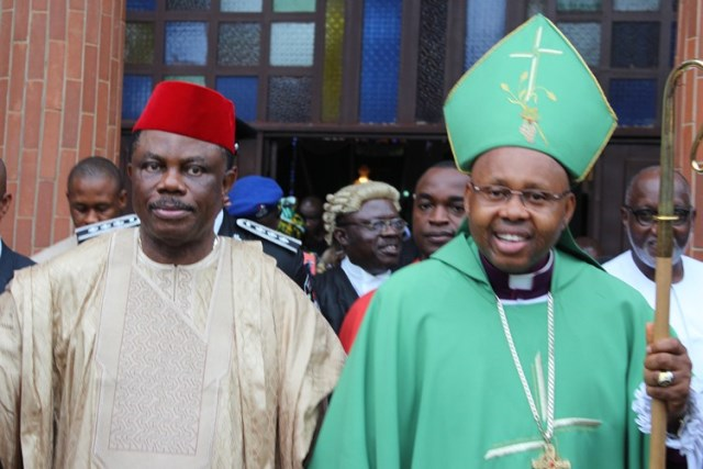 Governor Obiano and Bishop Ibezim after the Church Service