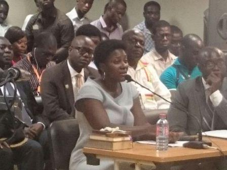 """""""Madam Abroquah testifying before the commission"""""""