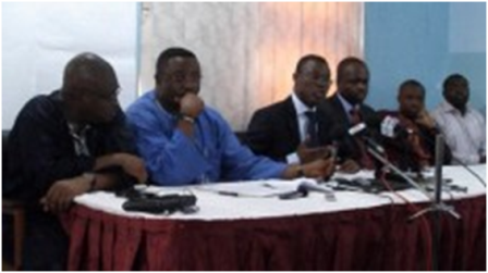 (L-R) Kobby Acheampong, Elvis Afriyie Ankrah, Fiifi Kwetey, Dr. Omane Boamah, Felix Kwakye Ofosu and Richard QuashigahNDC setting the records straight, Wed, 24/10/2012