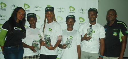 Analyst, Events & Sponsorship, Etisalat Nigeria, Martina Ogbebor; winner of Tecno P3, Dike Chioma, Udeh Stella, Ubochi Patience, and Enwere Chibike, all students of Federal Polytechnic, Nekede, Imo and Analyst,Youth Segment, Etisalat Nigeria, Mr. Michael Nwoseh, during the prize presentation to students at the Etisalat Cliqfest Seminar, held at Federal Polytechnic, Nekede, Imo State, today, 18th September, 2014.