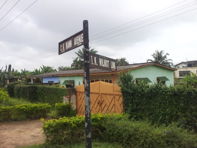 poles with street names on it in Sekondi township