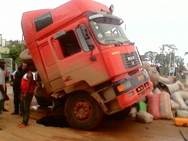 Truck falls