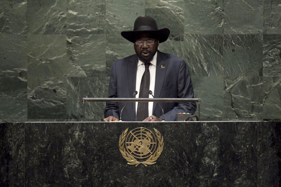 President Salva Kiir of South Sudan addresses the General Assembly. UN Photo/Cia Pak