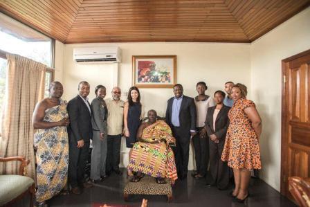Management of Tigo in a group picture with Okyehene, Osagyefo Amoatia Ofori Panyin II.