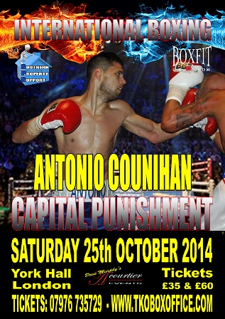 Antonio Counihan in action at York Hall on March 1st.