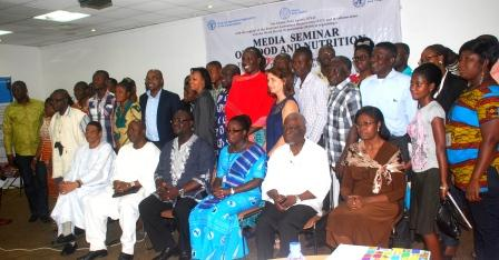 Participants in a group photo: Seated (left to right) ? Mr Mohamed AgBendech, Senior Nutrition Officer, FAO Africa Regional Office, Dr Lamourdia Thiombiano, FAO Representative to Ghana, Dr Bernard Otabil, GNA CEO, Mrs Akosua Kwakye, WHO Focal Person Programme Officer for Nutrition, Professor Nana Essilfie-Conduah, NMC Member, Mrs Kate Quarshie, Head Nutrition, Department of Nutrition of the Ghana Health Service.