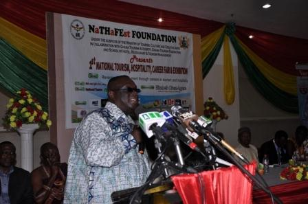 Nana Oduro Kwateng ,Chief Director at the Ministry of Tourism, Culture and Creative Arts addressing the function.