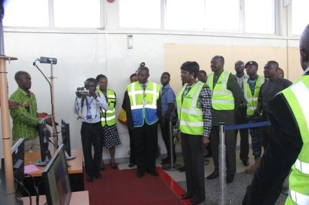 Two Ministers, Health and Transport Minister inspects Ebola Scanner Machine fix at the Arrival Hall of the Kotoka International Airport.