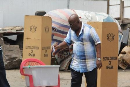 Nana Akufo-Addo casting his vote